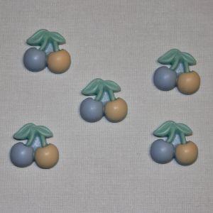 "Кабошон ""Вишенки"", пластик, 21х19 мм, цвет - желто-голубой (1уп = 50шт)"