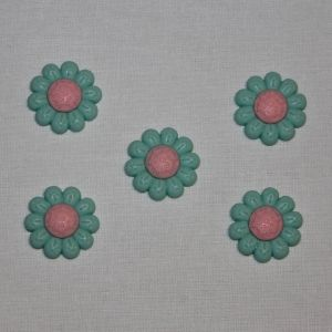 """Кабошон """"Цветок"""", пластик, 22 мм, цвет - зеленый (1уп = 50шт), Арт. КБП0348-2"""