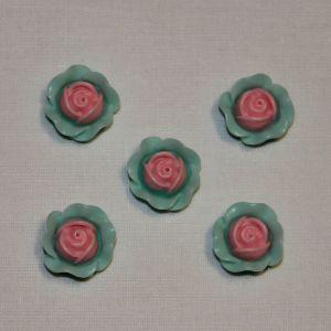 "Кабошон ""Розочка"", пластик, 19 мм, цвет - розово-зеленый (1уп = 50шт)"