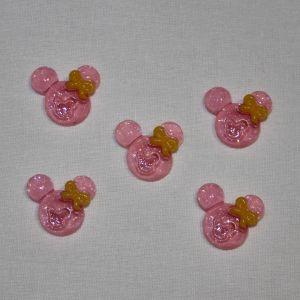 "Кабошон ""Минни"", пластик, 21х19 мм, цвет - розовый (1уп = 50шт)"