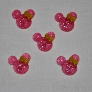 "Кабошон ""Минни"", пластик, 21х19 мм, цвет - ярко-розовый (1уп = 50шт)"