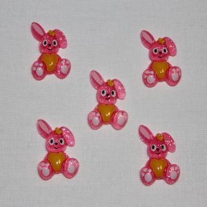 """Кабошон """"Зайчик"""", пластик, 25х18 мм, цвет - розовый (1уп = 50шт)"""