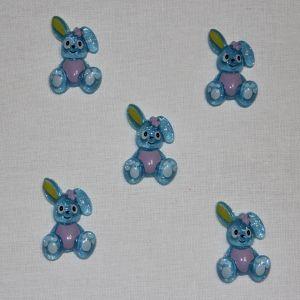 "Кабошон ""Зайчик"", пластик, 25х18 мм, цвет - голубой (1уп = 50шт)"