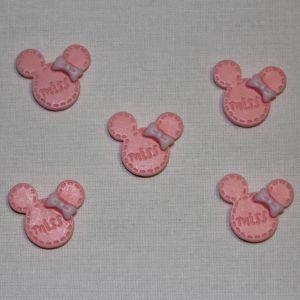 "Кабошон ""Минни"", пластик, 24х20 мм, цвет - светло-розовый (1уп = 50шт)"