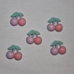 "`Кабошон ""Вишенки"", пластик, 21х19 мм, цвет - сиренево-розовый"