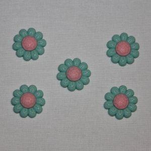 """`Кабошон """"Цветок"""", пластик, 22 мм, цвет - зеленый, Арт. Р-КБП0348-2"""