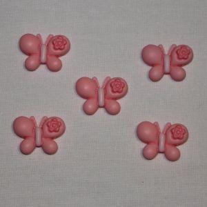 "`Кабошон ""Бабочка"", пластик, 23х22 мм, цвет - розовый"