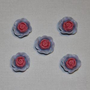 "`Кабошон ""Розочка"", пластик, 19 мм, цвет - розово-голубой"