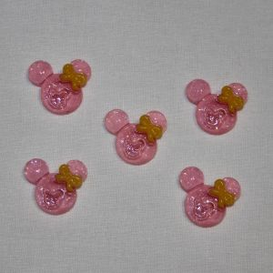 "`Кабошон ""Минни"", пластик, 21х19 мм, цвет - розовый"