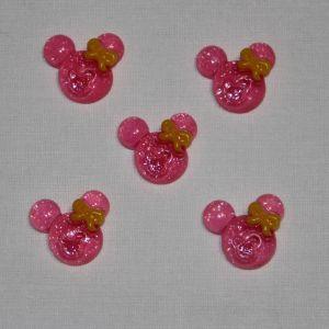 "`Кабошон ""Минни"", пластик, 21х19 мм, цвет - ярко-розовый"