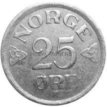 Норвегия 25 эре 1957 г.