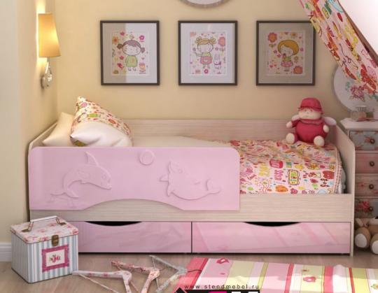 """Детская кровать """"Дельфин"""" МДФ 1,6 м"""