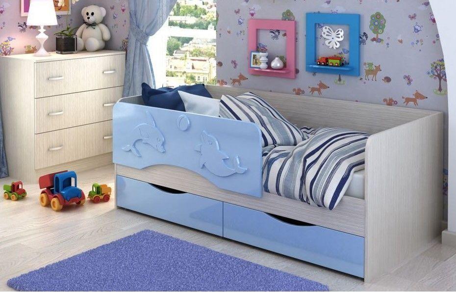 """Детская кровать """"Дельфин"""" МДФ 1,4 м"""