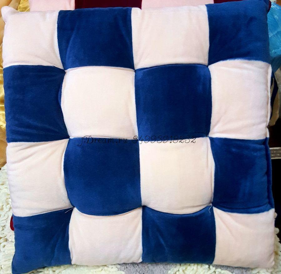 """Сидушка на стул """"Кубики"""" цвет синий"""