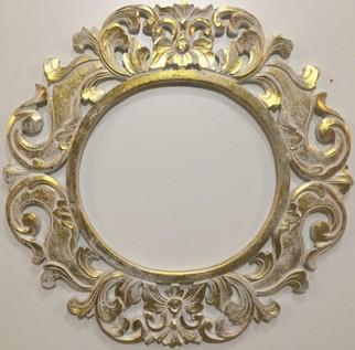 Зеркало Итальяно круглое белое с золотой патиной