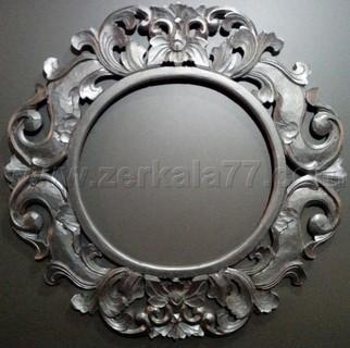 Зеркало Итальяно круглое серебро