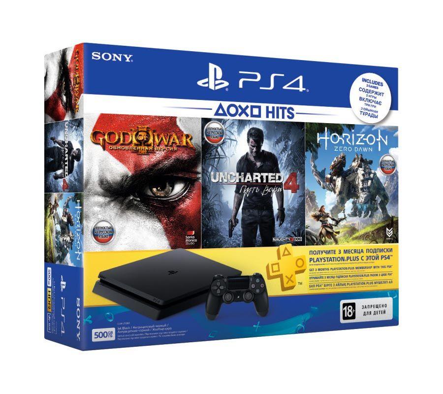 Sony PlayStation 4 Slim 500Gb + God of War III + Uncharted 4 + Horizon Zero Dawn + PS plus 3 месяца