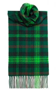 теплый шерстяной шарф изумрудного цвета 100% шерсть ягнёнка, расцветка клан Росс (охотничий вариант) ROSS HUNTING MODERN TARTAN, плотность 6