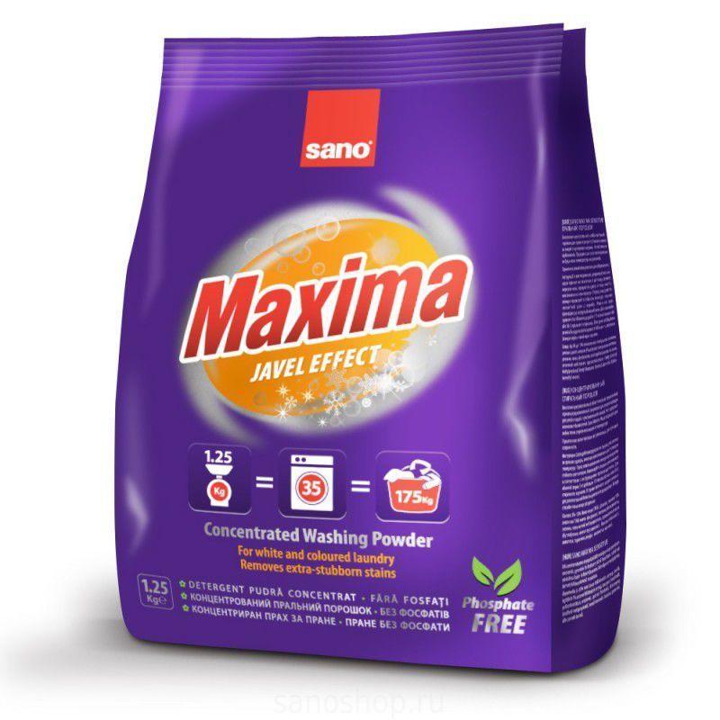 Концентрированный стиральный порошок 35 стирок Maxima Laundry Powder - Effect Javel Sano 1250 г