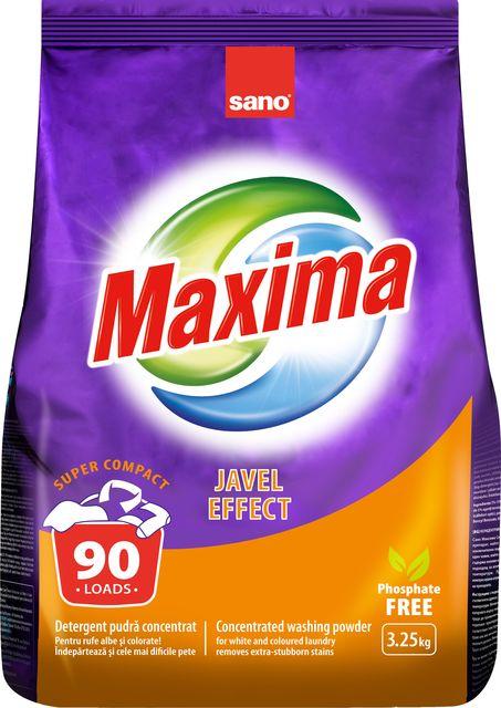Концентрированный стиральный порошок Без фосфата Жавель Maxima Javel Effect Sano 3250 г