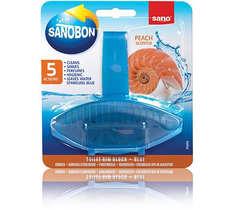 Подвесной очиститель унитаза (римблок-Персик) Rim Block Blue Peach Sano 55 г