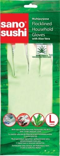 Перчатки хозяйственные многоразовые с Алоэ Вера размер L Sushi Sano