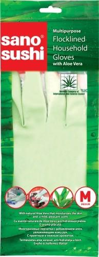 Перчатки хозяйственные многоразовые с Алоэ Вера размер M Sushi Sano