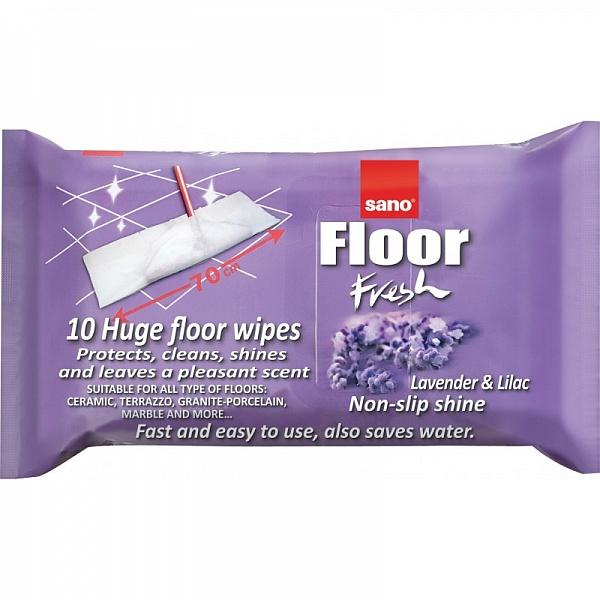 Влажные салфетки для пола Сирень Floor Fresh Lilac Sano 10 шт