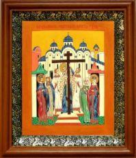 Воздвижение креста Господня (19х22), светлый киот