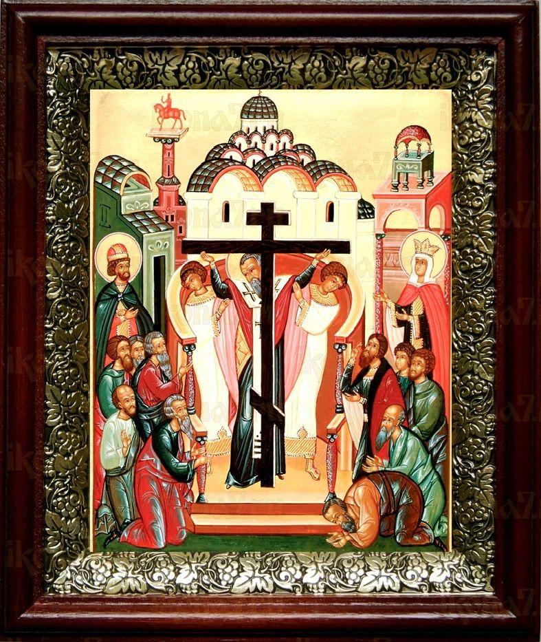 Воздвижение креста Господня (19х22), темный киот