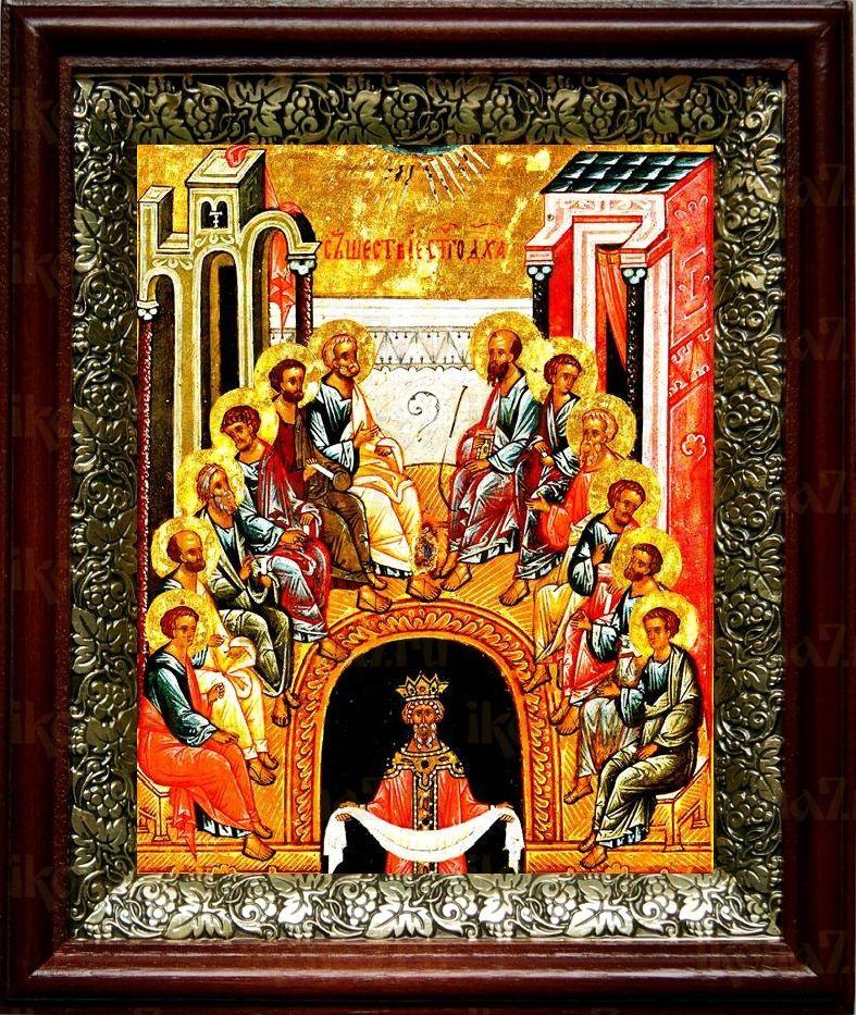 Сошествие Святого Духа на апостолов (19х22), темный киот