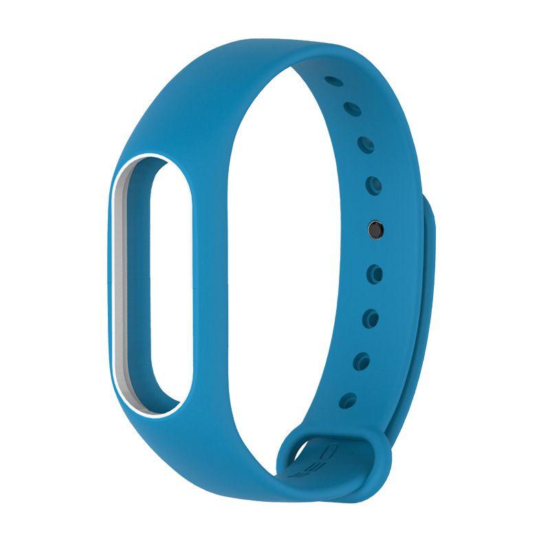 Силиконовый ремешок для Xiaomi Mi Band 2 ( Голубой/ Белый)