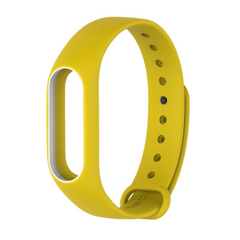Силиконовый ремешок для Xiaomi Mi Band 2 (Желтый/ Белый)
