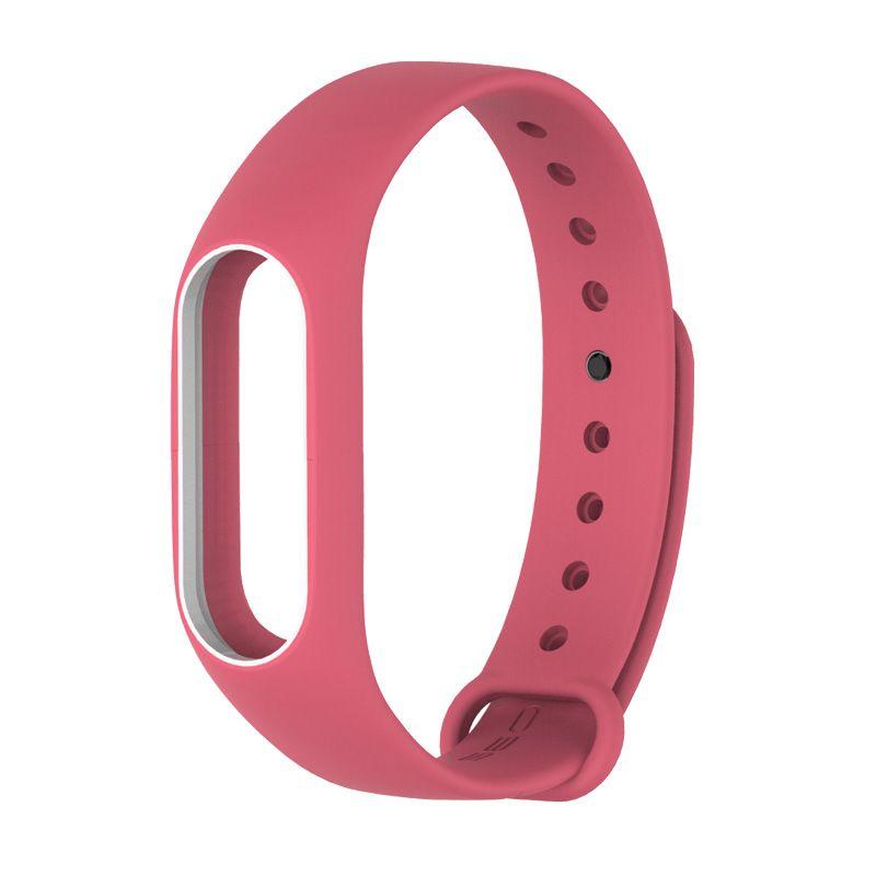 Силиконовый ремешок для Xiaomi Mi Band 2 (Розовый/ Белый)