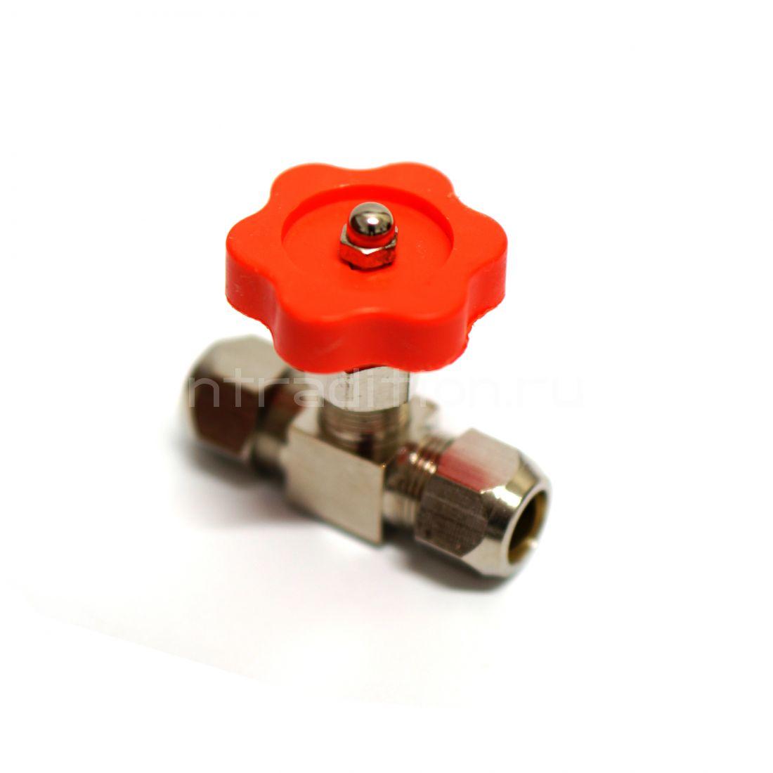 Кран игольчатый под трубку 8 мм