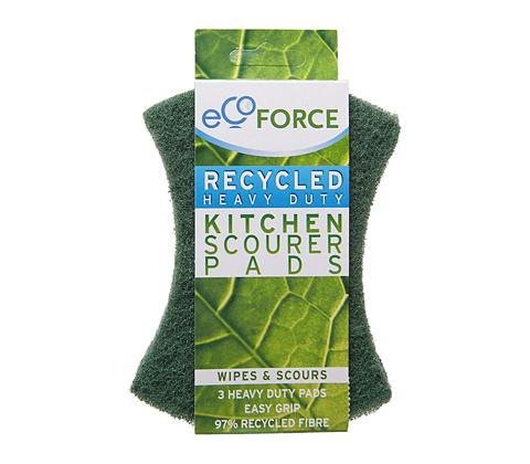 Чистящие губки для загрязненных поверхностей зеленые EcoForce (ЭкоФорс) 3 шт