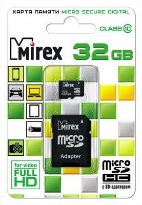 Карта памяти microSD  32 GB Mirex class 10 (с адаптером)
