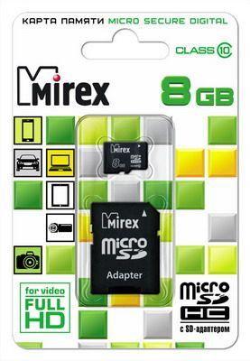 Карта памяти microSD MIREX  8GB class 10 (с адаптером)