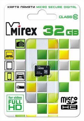 Карта памяти microSD MIREX 32GB class 10 (без адаптера)