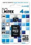 Карта памяти microSD  MIREX  4GB class 4 (с адаптером)