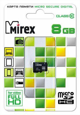 Карта памяти microSD MIREX 8GB class 10 (без адаптера)