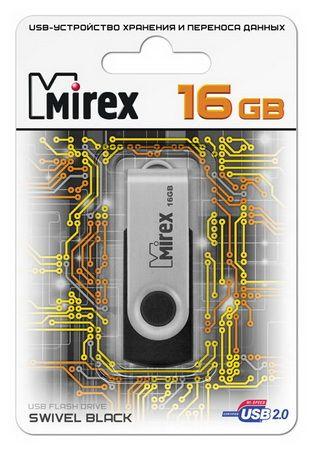 USB накопитель  16 ГБ  Mirex SWIVEL BLACK