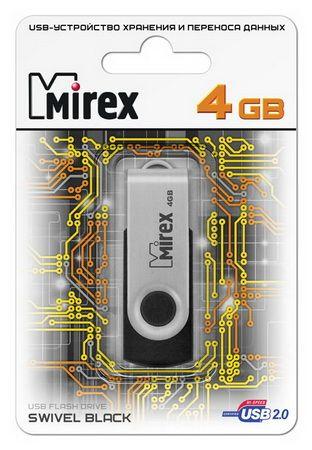 USB накопитель  4 ГБ  Mirex SWIVEL BLACK