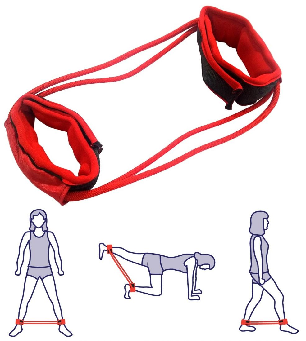 Эспандер для ног двойной INDIGO (2 жгута)