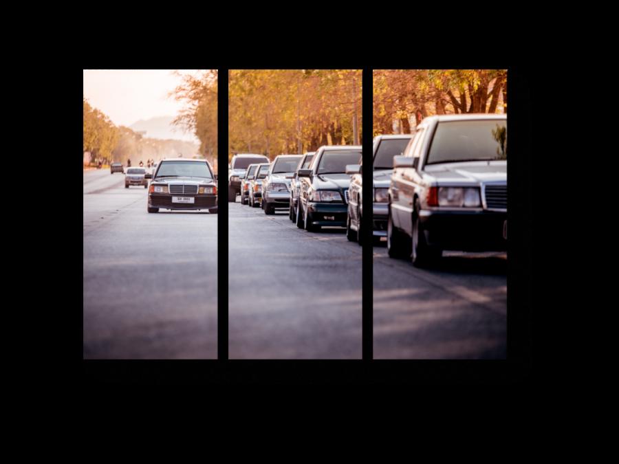 Модульная картина Улица мерседесов