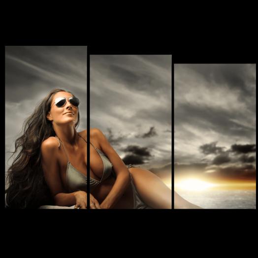 Модульная картина Девушка на закате