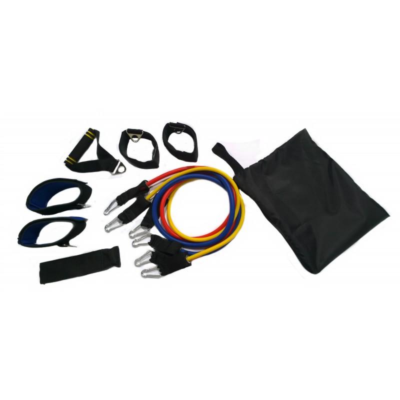 Эспандер универс. в дверной проем 3жгута, 4манж. INDIGO SM-069  2-6 кг,5-8 кг,7-10 кг