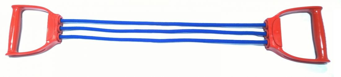 Эспандер плечевой 3 резиновых жгута в оплётке INDIGO