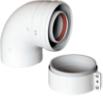 Коаксиальный отвод 90°, с муфтой,  диам. 60/100 мм   KHG 714101410
