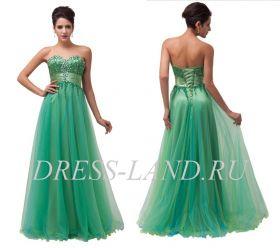 Зеленое вечернее платье со стразами